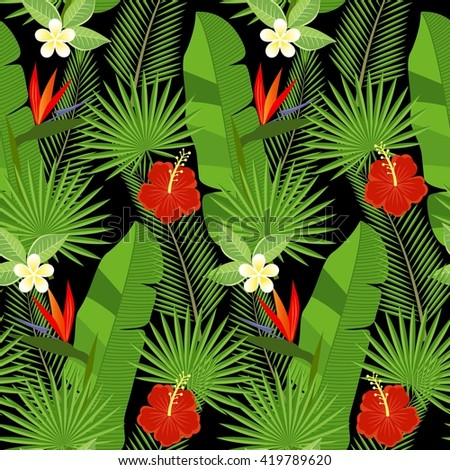seamless tropical leaves and flowers - palm, monstera, hibiscus and plumeria, strelitzia reginae - stock vector