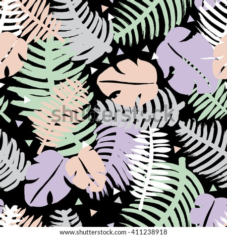 Seamless tropical lush forest leaves abstract jungle geometric background pattern in vector - stock vector