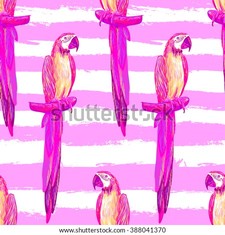Seamless tropical pattern with exotic parrot bird vector background. Perfect for wallpapers, pattern fills, web page backgrounds, surface textures, textile - stock vector