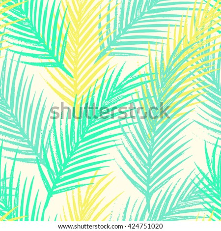 Seamless tropical pattern with jungle leaves and palm fronds.  Summer time illustration. - stock vector