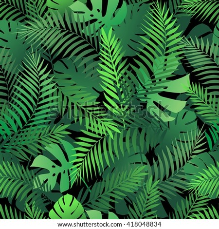 Seamless tropical pattern with palm leaves for fabric design or other uses. Endless exotic background.