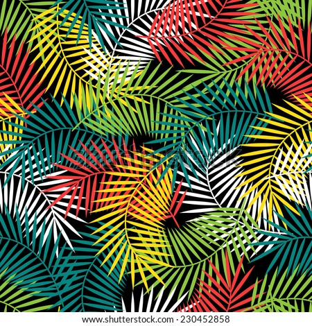 Seamless tropical pattern with stylized coconut palm leaves. - stock vector
