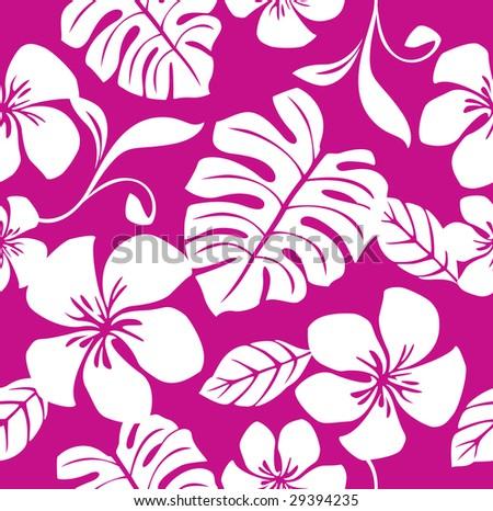 Seamless Tropical Pink Bikini Pattern - stock vector