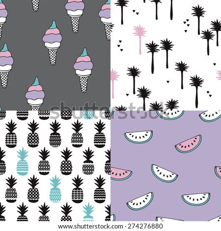 Seamless tropical summer modern background pattern illustration set with ice cream palm trees water melon and pineapple in vector - stock vector