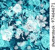 Seamless turquoise floral background - stock photo