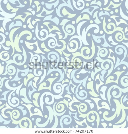 Seamless turquoise pattern with monograms - stock vector