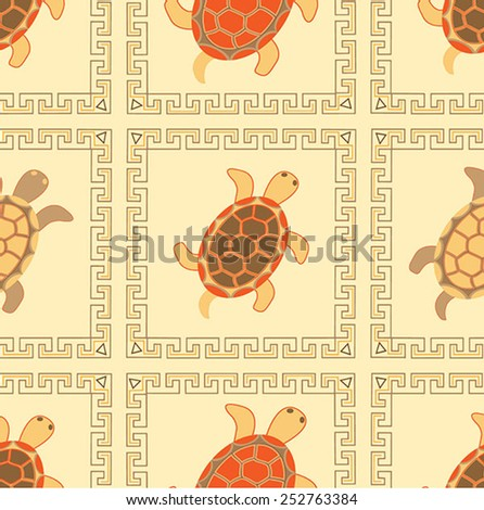 Seamless Turtles colorful ornaments. Vector illustration - stock vector