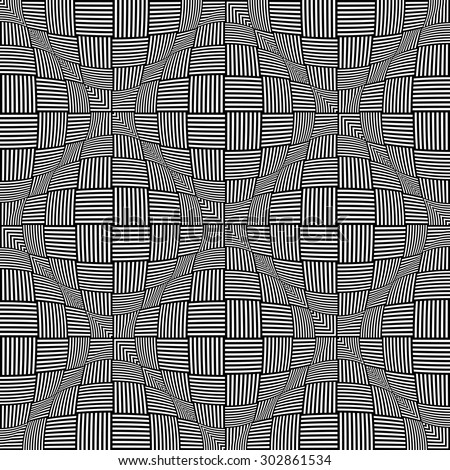 Seamless twisting checked pattern. 3D optical illusion. Vector art. - stock vector