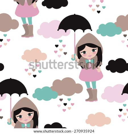 Seamless umbrella rainy day and clouds girl in rain coat and boots kids illustration background pattern in vector - stock vector