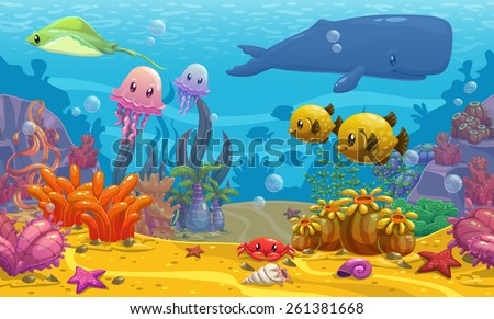 Seamless underwater cartoon vector illustration  - stock vector