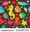 seamless underwater texture design. vector illustration - stock vector