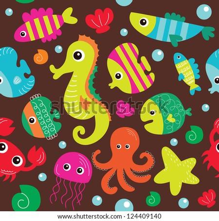 seamless underwater texture design. vector illustration - stock vector
