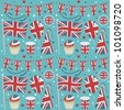 seamless united kingdom party pattern wrapping with decorations - stock vector