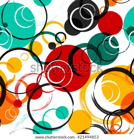 Seamless universal geometric modern pattern. Grunge texture. Circles. Vector illustration. Abstract geometric shapes