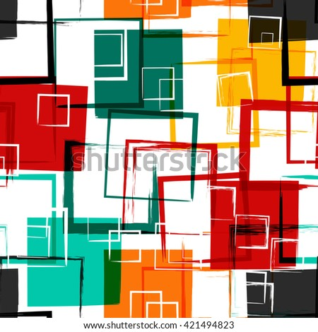 Seamless universal geometric modern pattern. Grunge texture. Squares. Vector illustration. Abstract geometric shapes.