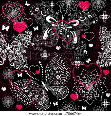 Seamless valentine floral pattern with lacy butterflies (vector) - stock vector