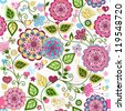 Seamless valentine pattern with colorful flowers and butterflies and hearts (vector) - stock photo