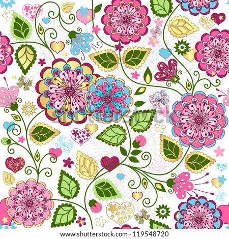 Seamless valentine pattern with colorful flowers and butterflies and hearts (vector) - stock vector