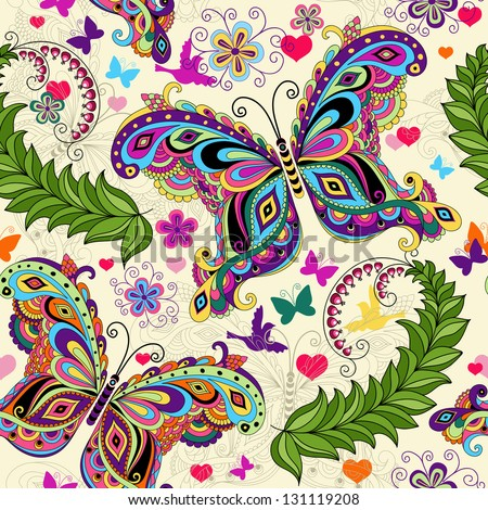 Seamless valentine pattern with colorful vintage butterflies and flowers and hearts (vector) - stock vector
