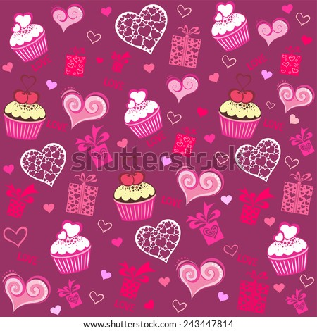 Seamless valentine pattern with cupcake, gift box and  hearts. Vector Illustration - stock vector
