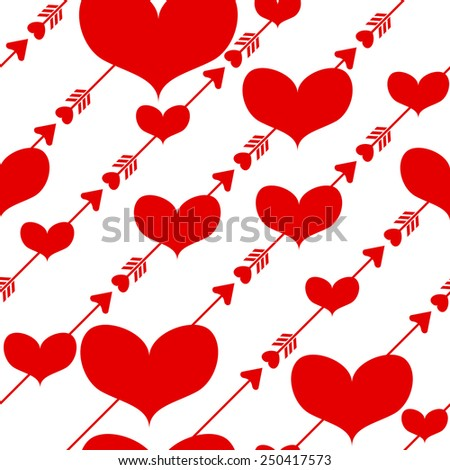 Seamless Valentine's Day background with hearts and arrows of Cupid