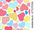 Seamless Valentine's Day pattern with patchwork hearts - stock photo