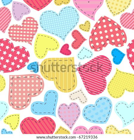Seamless Valentine's Day pattern with patchwork hearts - stock vector
