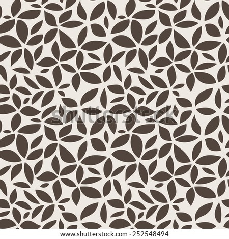Seamless vector abstract floral pattern of leaves and petals - stock vector