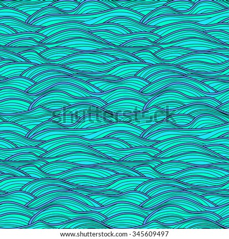 Seamless vector abstract hand-drawn waves texture. Colorful sea background.
