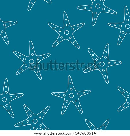 Seamless vector abstract pattern of sea stars on a blue background, painted by hand.