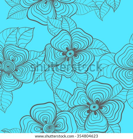 Seamless vector background. Abstract flowers and leaves. The pattern of lines.