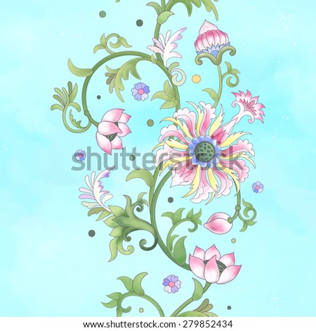 Seamless vector background. Border on watercolor basis. Imitation of chinese porcelain painting. Lotus flowers and leaves are painted by watercolor. - stock vector