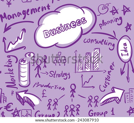 Seamless vector background, business, management scheme, chart, graph, diagram and schedule texture. Violet color - stock vector