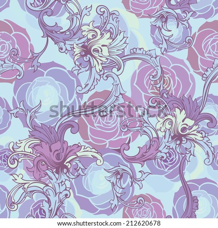 Seamless vector background. Floral background with baroque ornament.  - stock vector