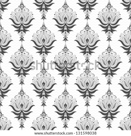 Seamless vector background. Floral damask pattern. Easily edit the colors. - stock vector