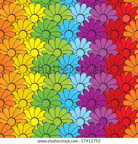 Seamless vector background. Flower rainbow - stock vector