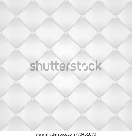 Seamless vector background from white leather with buttons - stock vector