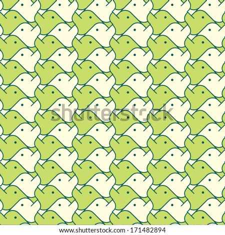 Seamless vector background. Green birds. - stock vector