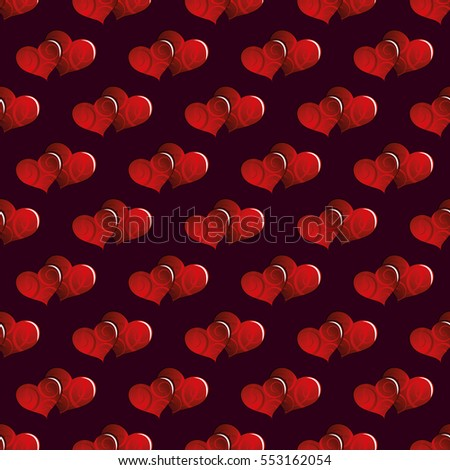 Seamless vector background. Hearts with ornament.