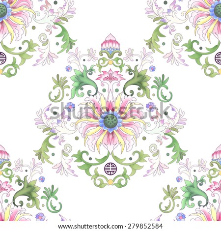 Seamless vector background. Imitation of chinese porcelain painting. Lotus flowers and leaves are painted by watercolor. - stock vector