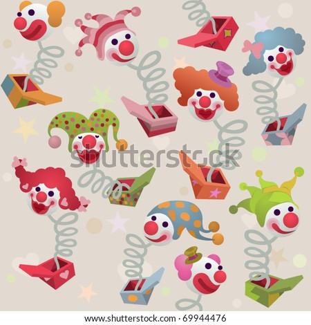 seamless vector background - jack in the box - stock vector