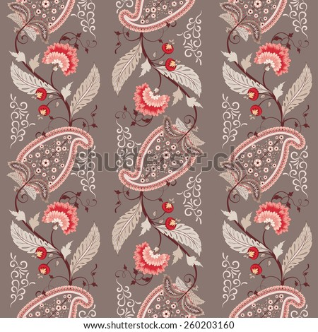 Seamless vector background. Pattern of paisley with leaves and flowers. Curved branch with fantastic flowers and berries. Motives of the paintings of ancient Indian fabrics. Tree of Life collection. - stock vector