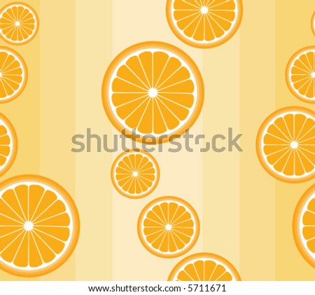 Seamless vector background pattern with orange slices on pale orange - stock vector