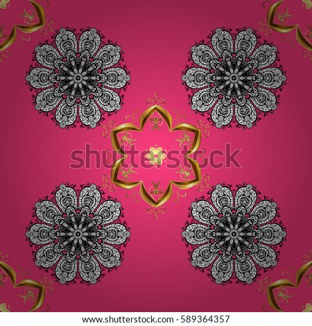 Seamless vector background. Wallpaper baroque, damask. Stylish graphic pattern. Golden elements on pink background. Floral pattern.
