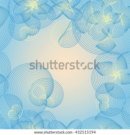 Seamless vector background with a pattern of flowers made by a curving parallel lines with the smooth transition of color.