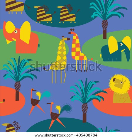 seamless vector background with African animals - stock vector