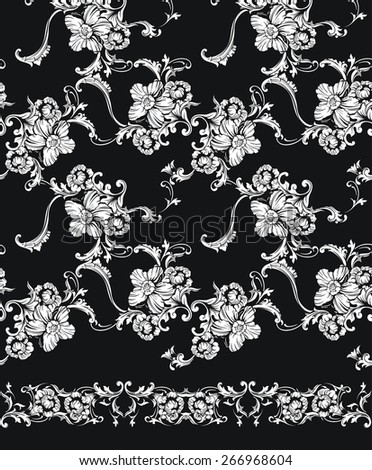 Seamless vector background with  border. Baroque pattern  - stock vector