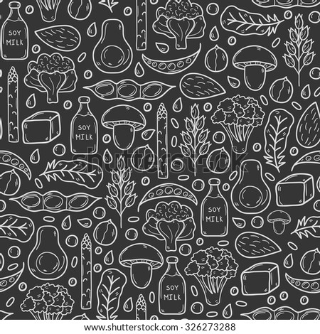 Seamless vector background with cartoon hand drawn objects on vegan source of protein theme: tofy, soya beans and milk, quinoa, lentil, chia. Healthy vegetarian food concept for your design - stock vector