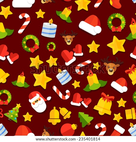 Seamless vector background with christmas elements in a flat style