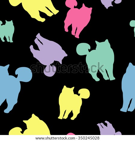 Seamless vector background with decorative cats in the style of pop art
